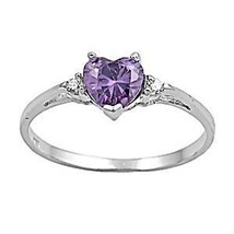 1.27ct Amethyst Ice CZ Heart Cut Promise Commitment Friendship Ring sz 7 - $17.99
