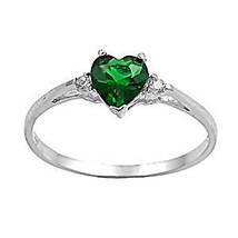 1.27ct Emerald Ice CZ Heart Cut Promise Commitment Friendship Ring sz 8 - $17.99