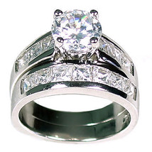 5.4 carats Russian Ice on Fire CZ Wedding Ring Set 925 Sterling Silver sz 4 - $83.00