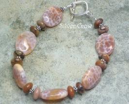 Fire Agate, Turtleshell Jasper Gemstones & Sterling Silver Bracelet - $33.99