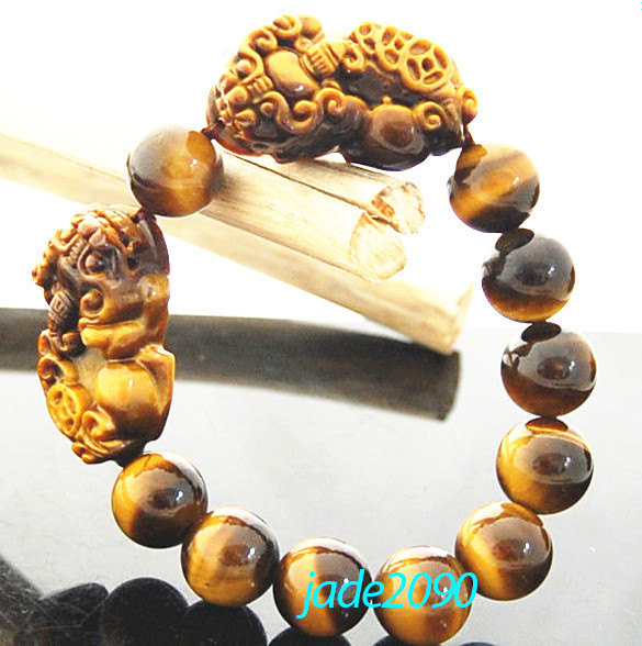 Primary image for Free shipping - good luck AAA Grade Natural yellow tiger eye stone carved two PI