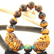 Free shipping - good luck AAA Grade Natural yellow tiger eye stone carved two PI image 3