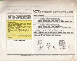 McCall's 5292 Stuffed Mother & Baby Cat Dolls Mouse Bed Pattern