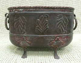 Oval Hammered Leaves Brass Claw Foot Planter Bowl Pot w/ Ring Handles 12... - $34.22