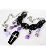 Coffin Necklace, Black and Purple, Silver - Visual Kei, Pastel Goth, Kaw... - $20.00