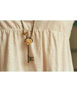 Vintage Skeleton Key Necklace with Cream Colored Vintage Rose - Long Cha... - $36.00