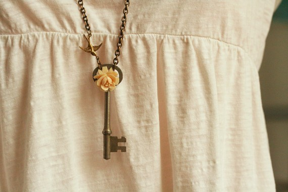 Vintage Skeleton Key Necklace with Cream Colored Vintage Rose - Long Chain Brass