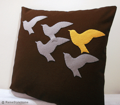Handmade. Orange Bird In Flying Birds Brown Pillow Cover  - $28.50