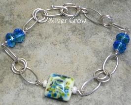 Blue Green Lamp Work & Argentium Sterling Silver Bracelet - $32.99