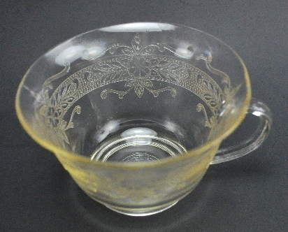 MacBeth Evan Light Yellow Stippled Rose Band S Pattern Coffee Cup 1930s