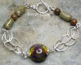 Brown Lamp Work,Gemstone & Argentium Sterling Silver Bracelet - $30.99