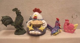 4 ROOSTERS - 2 FIGURINES 1 STUFFED 1 NOTE HOLDER - $11.87