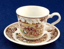 Johnson Bros Neighbors Cup & Saucer Barn Raising New Rural Scenes England - $6.00