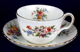 Minton Marlow Cup & Saucer Floral w Gold Rim S309 China - $10.99