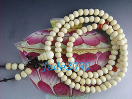 Free Shipping - 8 mm beads Tibetan Natural white sandalwood Mala with Red agate  - $19.99