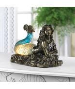 Mermaid Table Lamp Figurine Electric Bronze Blue Glow Tail Ocean SL 1001... - $57.08