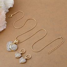 Women's Heartshaped Cut Crystal Gold Pendant Necklace Jewelry Set image 5