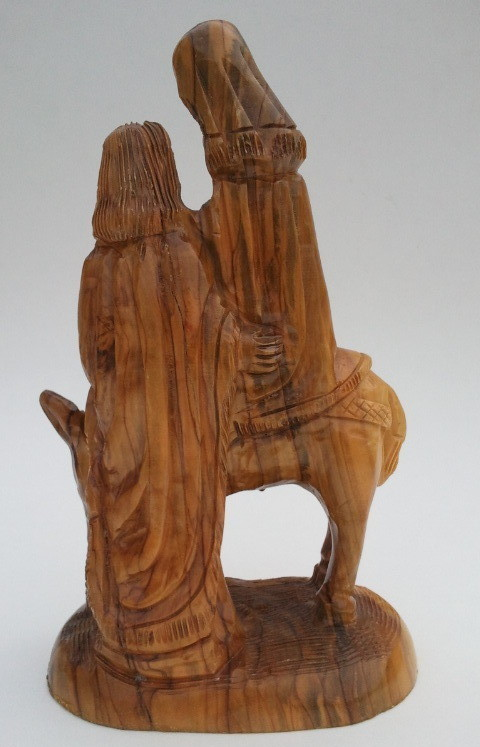Hand Carved Wood Holy Family Flight to Egypt Statue