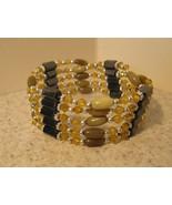 BRACELET GOLDEN CRYSTAL AND HEMATITE WRAP New #895 - $9.99