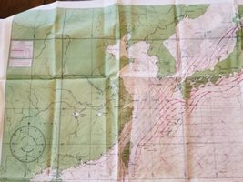 """Rare Vintage 36""""x26"""" Two Sided Western Pacific Cloth Nautical Map Asia China image 3"""