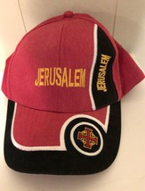 Jerusalem hat Israel Baseball Cap Adjustable Red/Black Israeli Trucker - $7.97