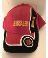 Jerusalem hat Israel Baseball Cap Adjustable Red/Black Israeli Trucker - $7.97