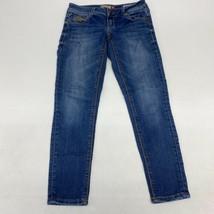 People's Liberation Crop Denim Jeans Women's 1/2 Blue Faded Rhinestone L... - $18.95