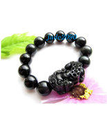 Free Shipping - good luck natural black agate '' PI YAO'' Prayer Beads charm bra - $30.00