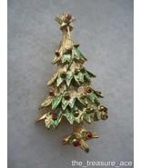 "~FESTIVE~Gold Tone Christmas Tree Enamel Accents~1 1/2""~Holiday Pin Broo... - $4.88"