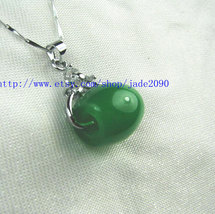 Free Shipping - Hand carved Natural Green jade Ball charm Pendant / choker / nec - $20.00