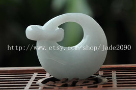 Free shipping - good luck Real natural  White jadeite jade twin round charm jade - $25.99