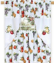"Embellished Tier & Swag Curtains Set (58x36"")FRUITS,GRAPES,APPLES,AMBROS... - $22.76"