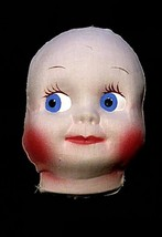 Vintage Doll Face Fabric Cloth Mache Baby Head Form Hand Painted Blue Ey... - $12.86