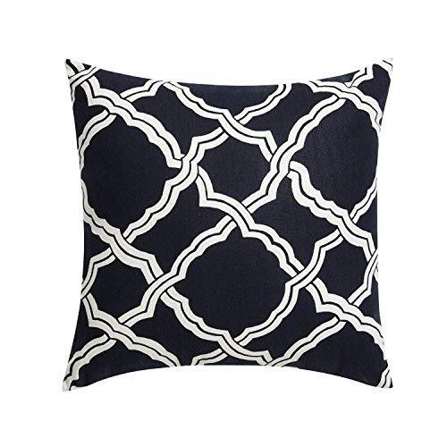 Reqo365 Kendra Durable Cotton Linen Square Decorative Throw Pillows Cushion Cove