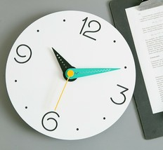 Moro Design Point Line Wall Clock non Ticking Silent Modern Clock (Numeric Mint) image 2