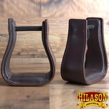 Hilason Western Saddle Dark Brown Leather Covered Horse Saddle Stirrups U-00BR - $37.95