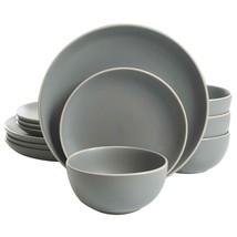 Kitchen Dinnerware Set 12-PC Dinner Plates Bowls Mugs Matte Grey Round S... - $57.91