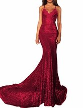 Women's Sexy Mermaid Long Sequin Evening Party Dress Spaghetti Strap Pro... - $108.99