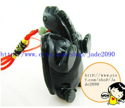 Free Shipping - good luck Natural dark green jade jadeite carved Turtle charm Pe - $26.00