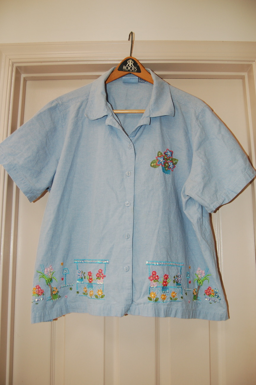 Jane ashley woman blue shirt