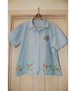 Jane Ashley Woman Shirt Plus Size 2X Blue Embellished - $10.00