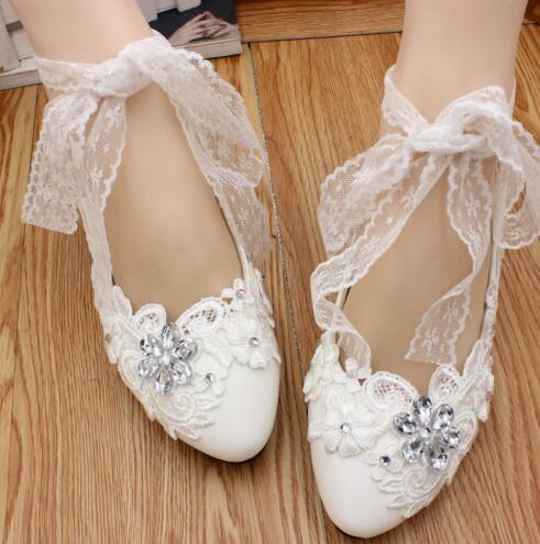 Women Ribbon Style Bridal Ballet Flats/Wedding Flat Shoes with Lace Ankel Straps - £30.95 GBP