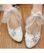 Women Ribbon Style Bridal Ballet Flats/Wedding Flat Shoes with Lace Anke... - £30.95 GBP