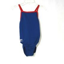 Speedo Endurance One Piece Swimsuit Girls Size 10 26 Blue Red - $15.82