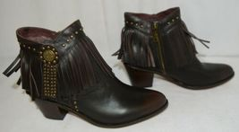 Lucky And Blessed SH11 Dark Brown Leather Boots Fringe Metal Studs Size 11 image 3