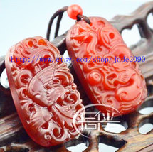 Free Shipping - Red Dragon and Phoenix  Natural  red agate /  Carnelian ... - $19.99