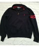 POLO RALPH LAUREN L 1/4 Zip Men's Sweater Navy Blue red cotton - $23.38