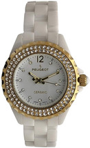 Peugeot Women Ceramic Wrist Watch with Crystal Bezel and Link Bracelet - $379.18