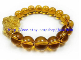 Free shipping - good luck Natural yellow Crystal / quartz PI Yao charm beaded Br - $29.99