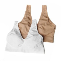 """Rhonda Shear Seamless """"Ahh Bra"""" 2-pack, White/Nude, XL (494034) - $16.82"""